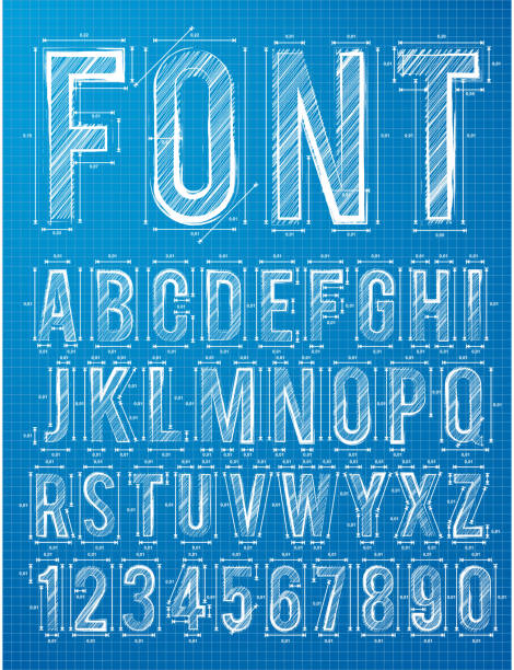 요금재 알파벳 디자인식 서체가 - 설계도 stock illustrations