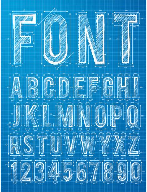 Plan alphabet design font vector art illustration