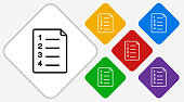 Plan Document Icon. This 100% royalty free vector illustration is featuring a white diamond button with a black icon. There are 5 additional alternative variations in different colors on the right.