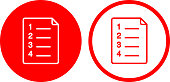 Plan Document Icon. This 100% royalty free vector illustration is featuring a round shaped red button. The main icon is depicted in white. There is an alternative variation with a red outline and white background on the right.