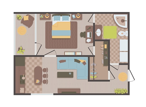 Plan for apartment or flat with furniture vector illustration isolated.