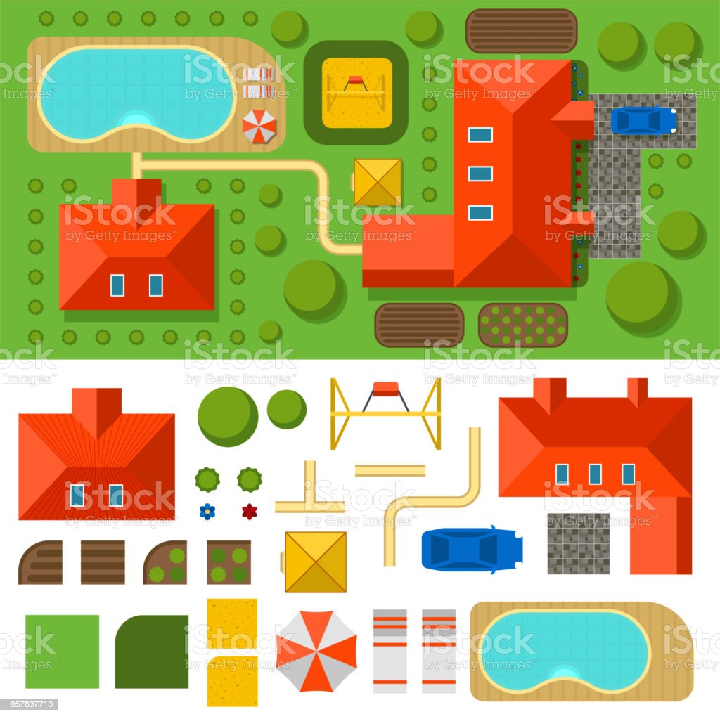 Plan of private house vector illustration top view of outdoor home  landscape villa map constructor design. Plan Of Private House Vector Illustration Top View Of Outdoor Home