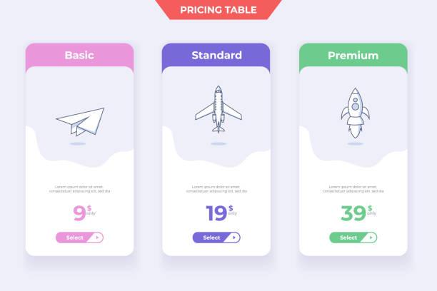 3 Plan Pricing Table Template Design vector art illustration