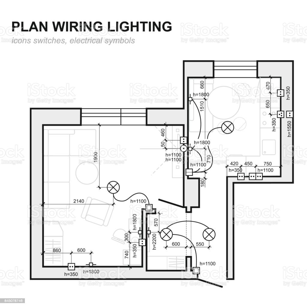 Plan Wiring Lighting Electrical Schematic Interior Set Of Standard Icons Switches Symbols