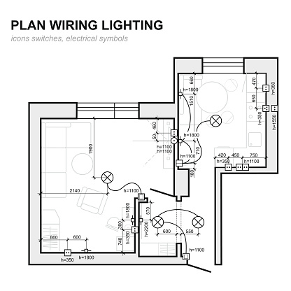 plan wiring lighting electrical schematic interior set of standard icons  switches electrical symbols for blueprint stock illustration - download  image now -