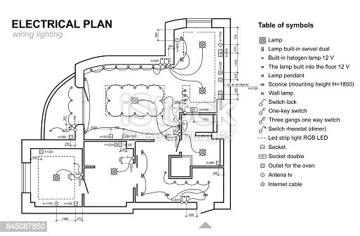 Plan Wiring Lighting Electrical Schematic Interior Set Of
