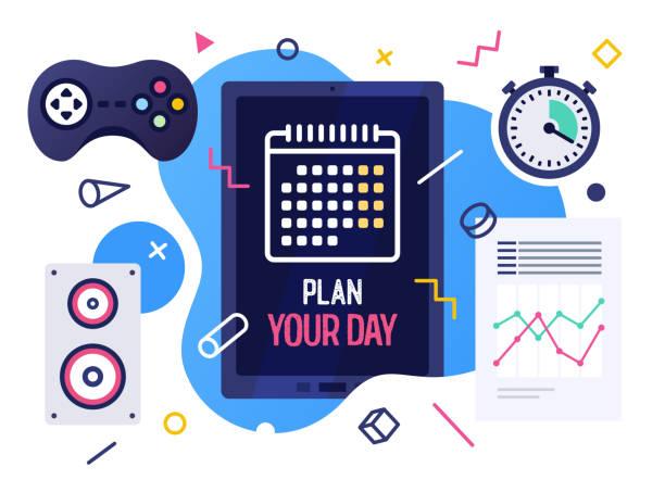 illustrations, cliparts, dessins animés et icônes de planifiez votre journée vector illustration banner design - calendrier de l'avant