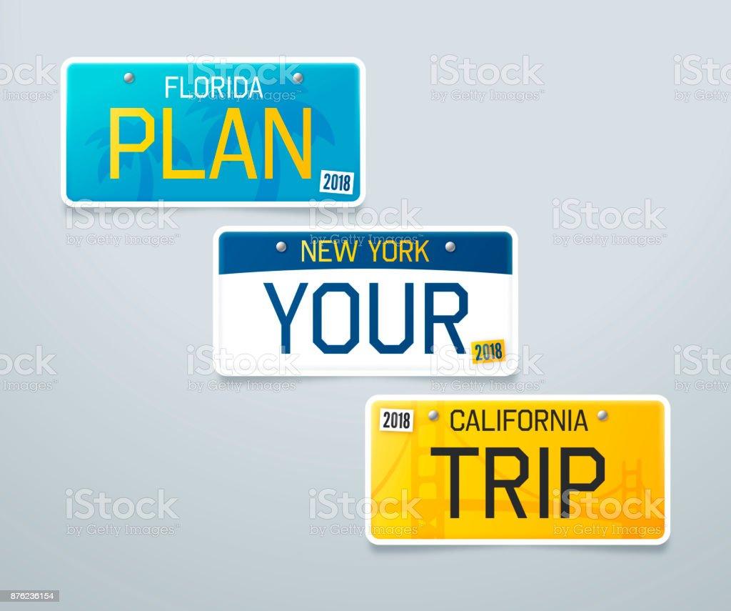Plan Your Trip License Plates vector art illustration
