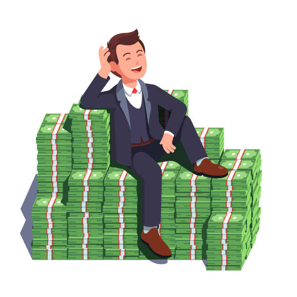 plan-00-layout-template-numbered-60 Happy rich man sitting confidently on big heap of stacked money dangling his leg. Billionaire business man or smiling banker leaning on a huge cash pile. Business success. Flat style vector illustration isolated on white background millionnaire stock illustrations
