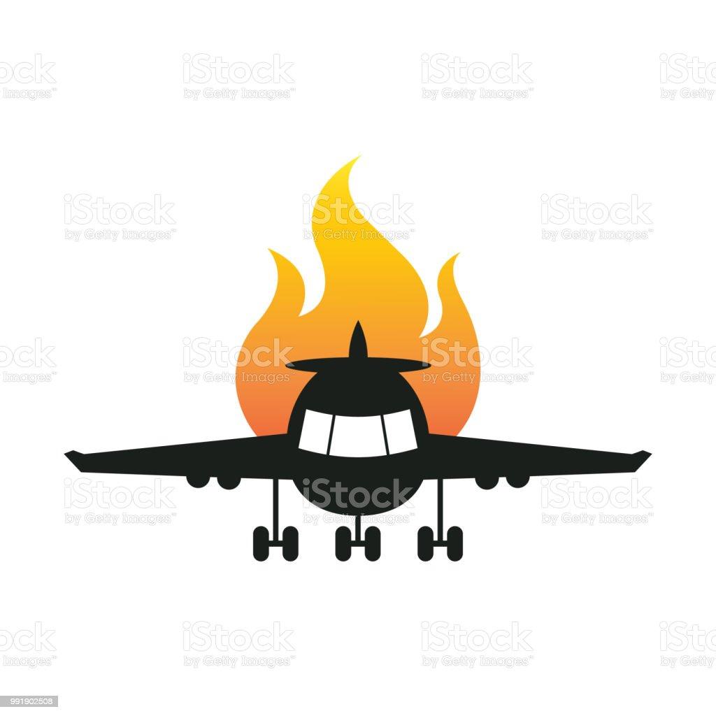 plane accident vector art illustration