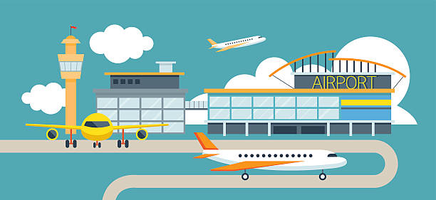 Plane and Airport Flat Design Illustration Icons Objects Station Concept airport stock illustrations