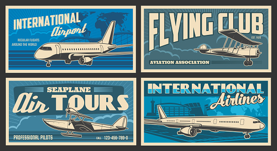 Plane and airport retro banners of air travel