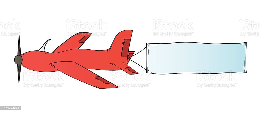 plane and blank flag stock vector art more images of 2015 rh istockphoto com Small Plane Flying Plane Clip Art Sign
