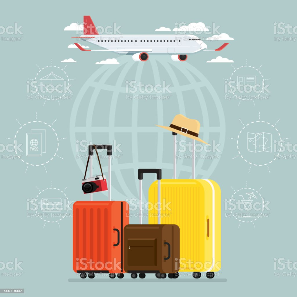 Plane and departures travel sky and travel suitcases, Vector Illustration vector art illustration