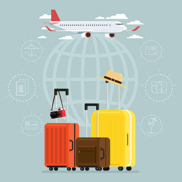 plane and departures travel sky and travel suitcases, vector illustration - luggage stock illustrations
