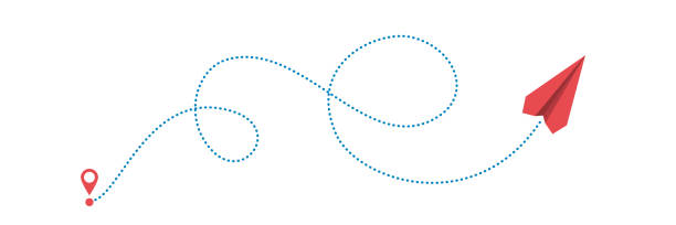 plane and path plane and its dotted path on white background. Vector illustration. paper airplane stock illustrations