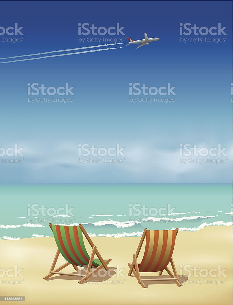 Plane, Beach and Deckchairs vector art illustration