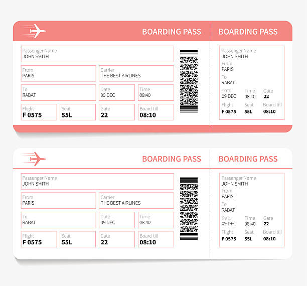 Plane boarding pass Blank plane tickets for romantic trip isolated on white background. Vector illustration airplane ticket stock illustrations