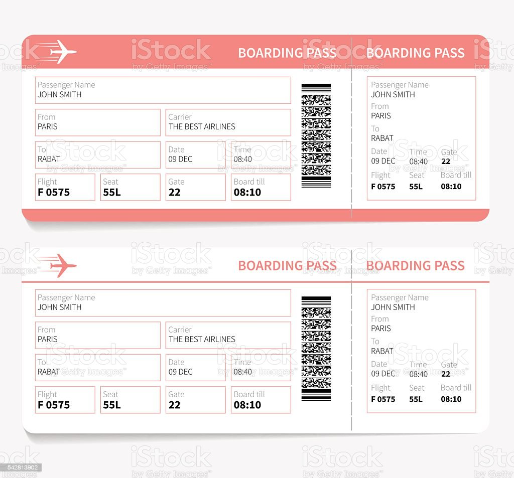 Plane boarding pass vector art illustration