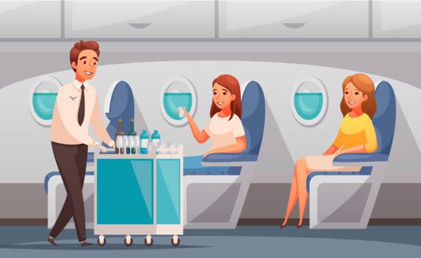 stockillustraties, clipart, cartoons en iconen met vliegtuig cartoon illustratie - stewardess