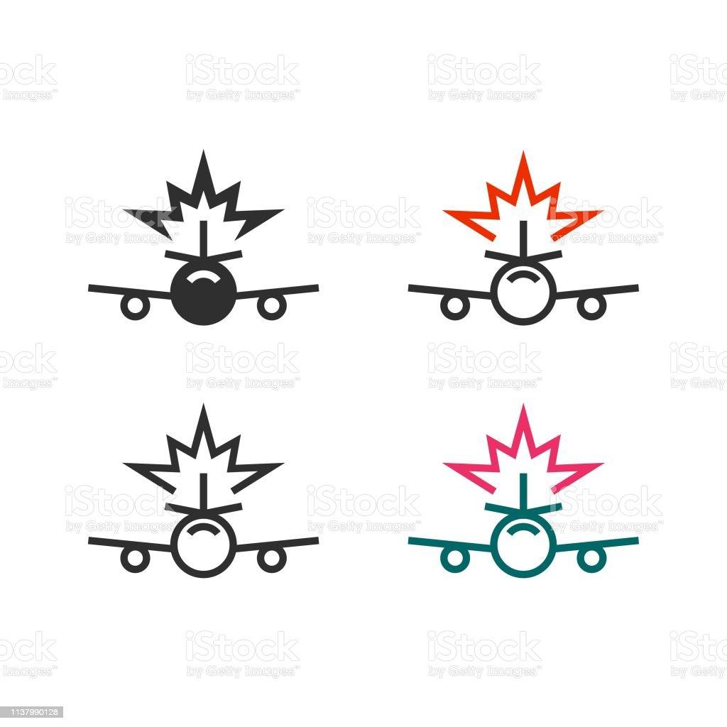 Plane crash icon vector art illustration