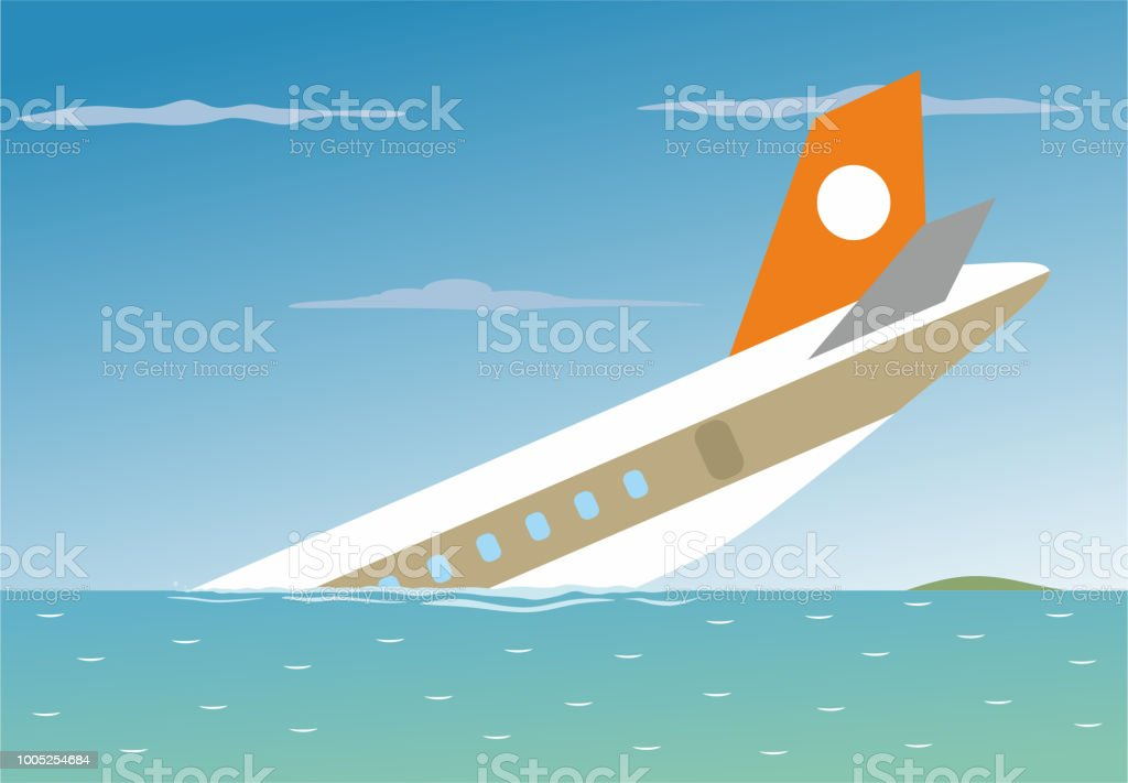 Plane crashed in to the sea vector art illustration