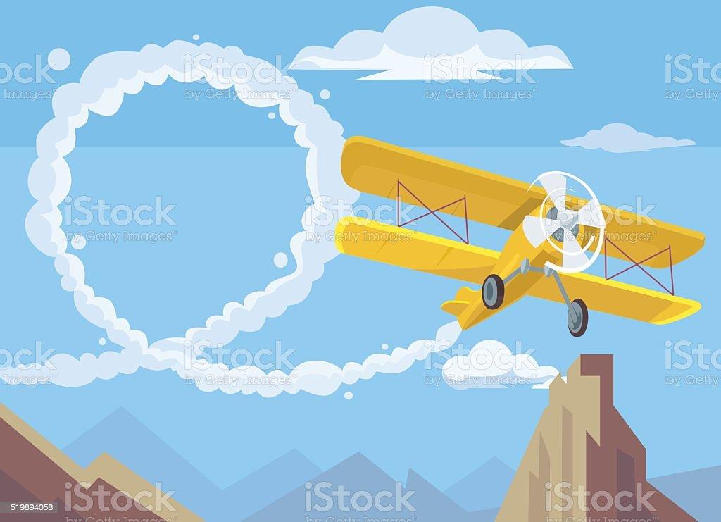 Plane drawing message. Vector flat cartoon illustration vector art illustration