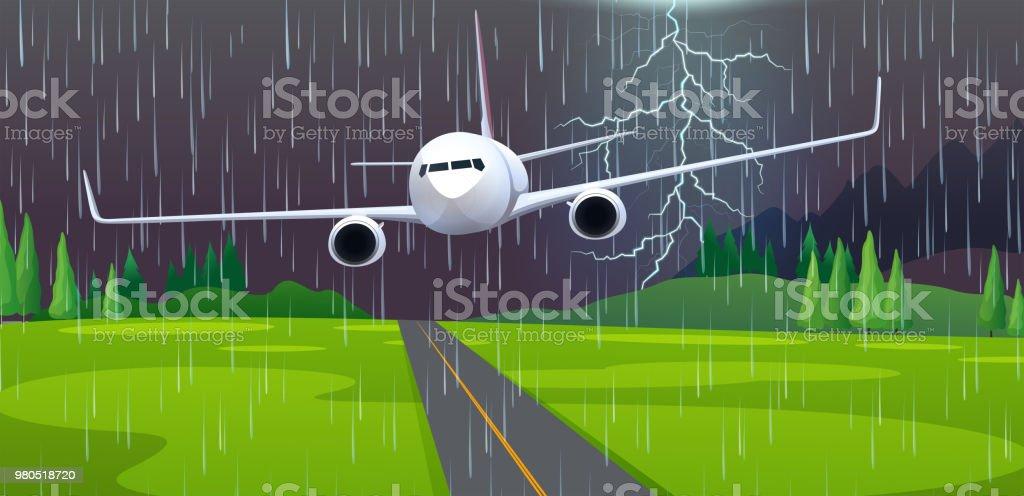 A Plane Emergency Landing at Airport vector art illustration