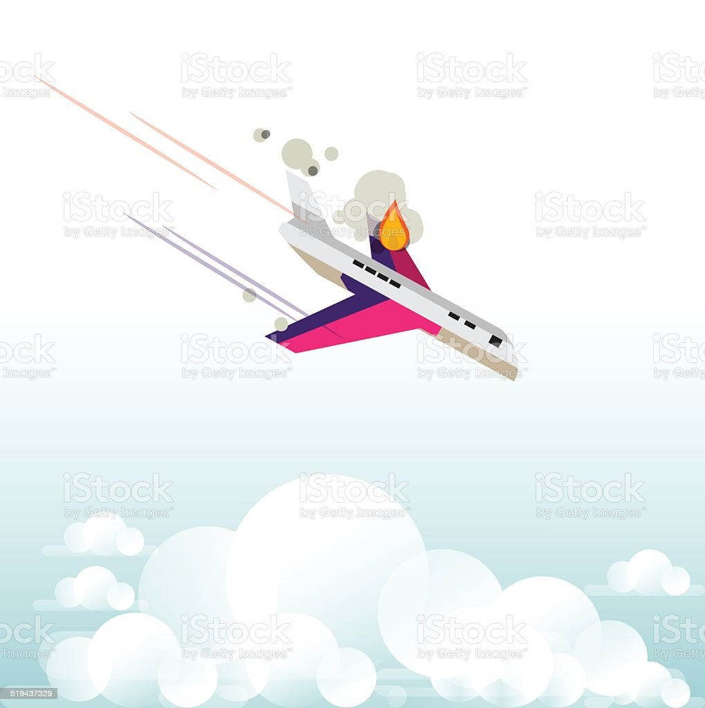 plane falling form the sky with fire - vector illustration vector art illustration