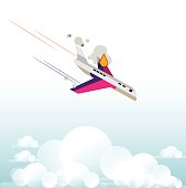 plane falling form the sky with fire - vector illustration