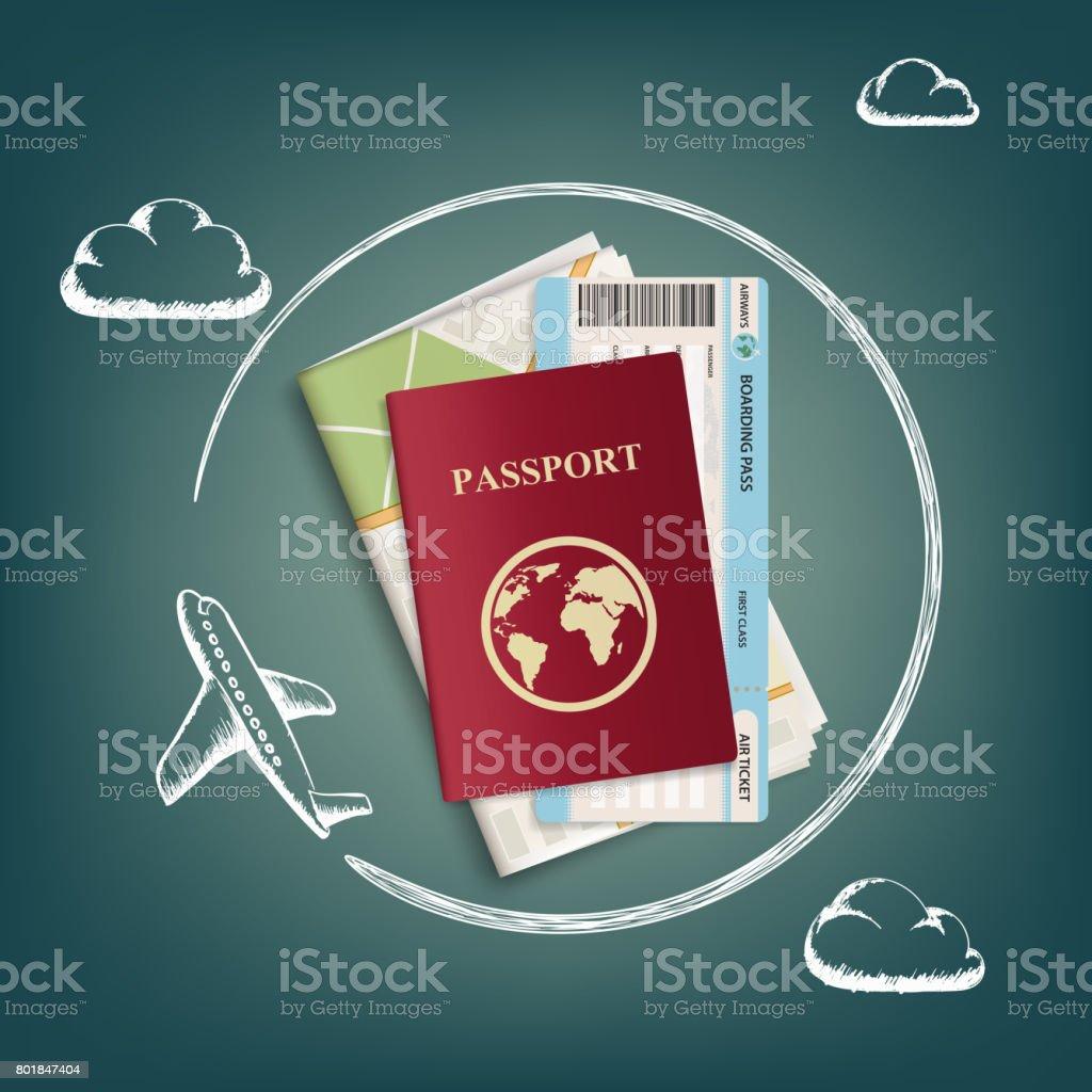 Flugzeug fliegt um Reisepass, Tickets und Karten. – Vektorgrafik
