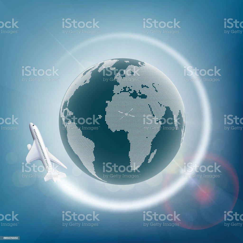 Plane flies around the planet earth. vector art illustration