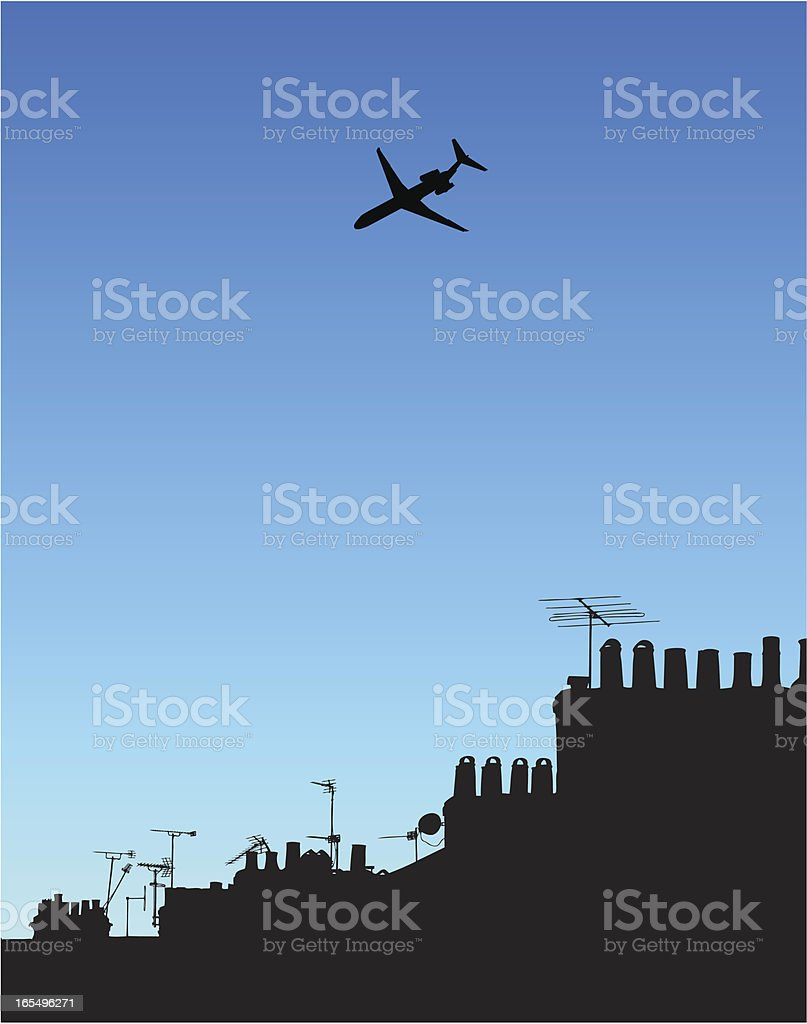 Plane flies high above the chimneys and tv aerials royalty-free plane flies high above the chimneys and tv aerials stock vector art & more images of above