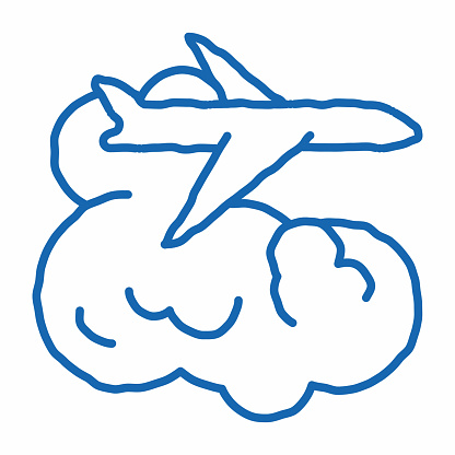plane flies in clouds doodle icon hand drawn illustration