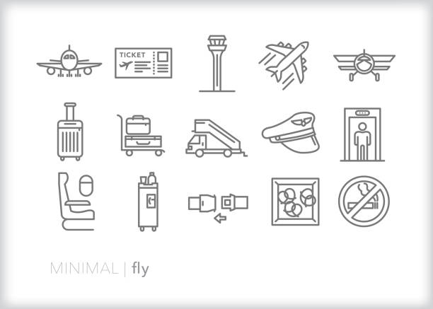 Plane, flight, airplane and flying line icons Set of 15 flying line icons for air travel including plane, boarding pass, air traffic control, suitcase, luggage cart, pilot's hat, scanner for security, airplane seat, beverage cart, seat belt and snack airport stock illustrations