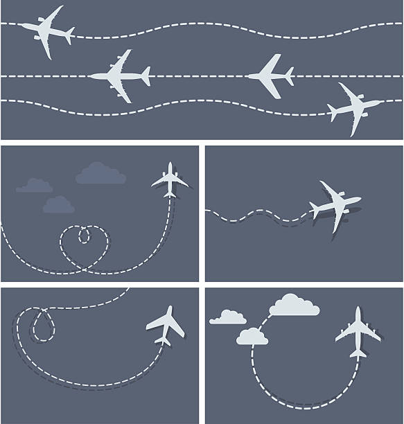 Plane flight - dotted trace of the airplane Plane flight - dotted trace of the airplane, heart-shaped and loop hyphen stock illustrations
