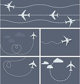 Plane flight - dotted trace of the airplane