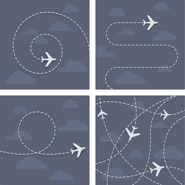 Plane flight with dotted trace of the airplane Plane flight with dotted trace of the airplane hyphen stock illustrations