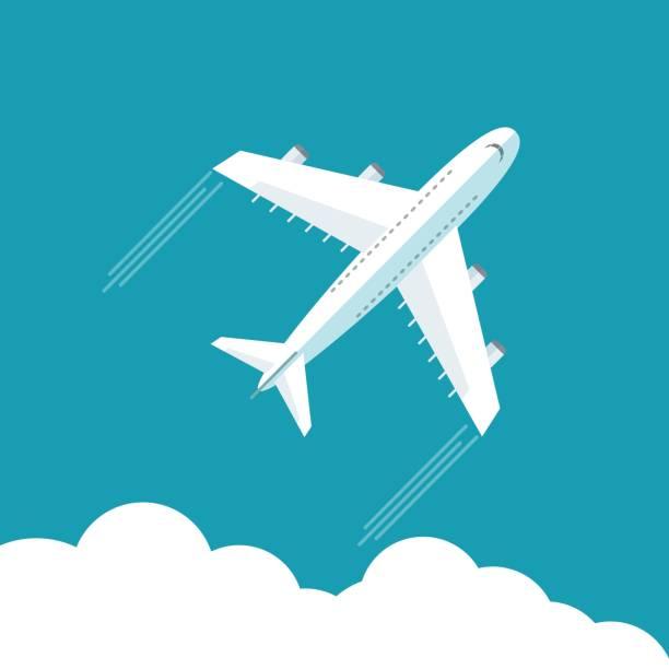 stockillustraties, clipart, cartoons en iconen met vliegtuig vlieg op blauwe wolk hemelachtergrond met lege ruimte voor uw tekst - stewardess