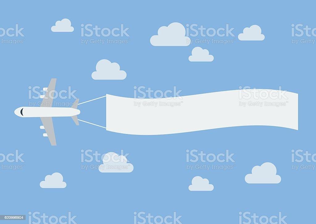 Plane flying a blank banner vector art illustration