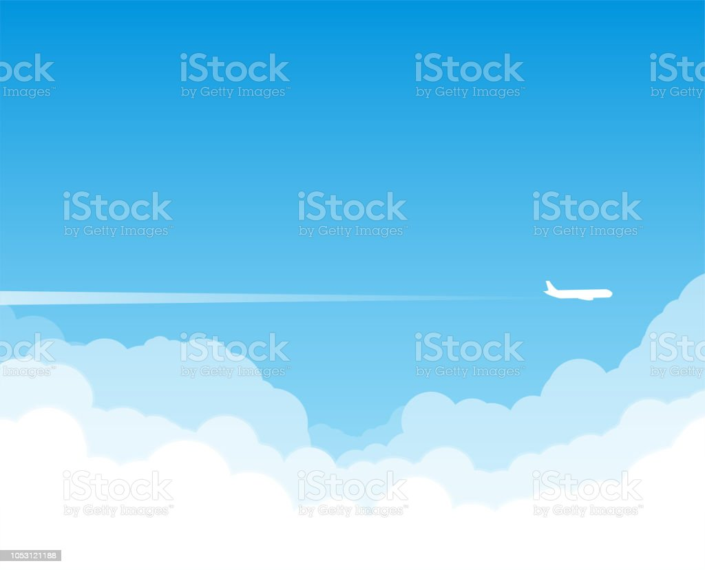 Plane flying above clouds royalty-free plane flying above clouds stock illustration - download image now