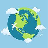 Beautiful vector design illustration of airplane flying around world