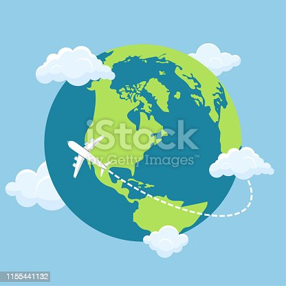Plane flying around the world vector design illustration
