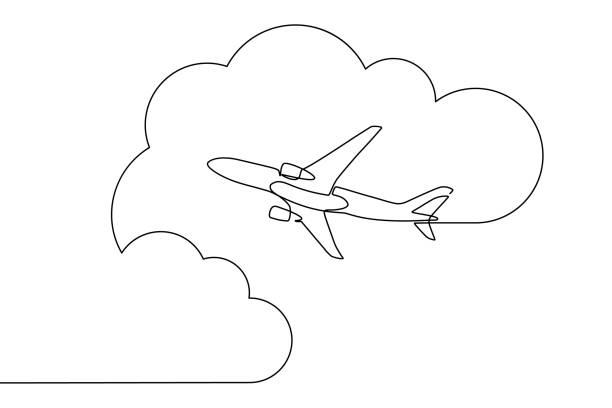 samolot latający na niebie - dzieło artystyczne stock illustrations
