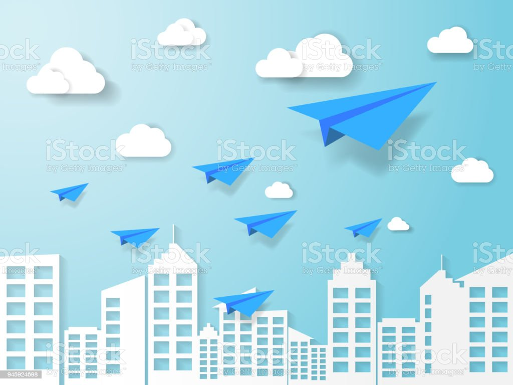 Plane Flying On Blue Sky With Cloud And Building
