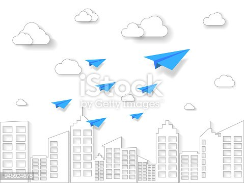 istock plane flying on white sky with cloud and building. illustration of business and leadership concept. nature landscape with paper art style. 945924678