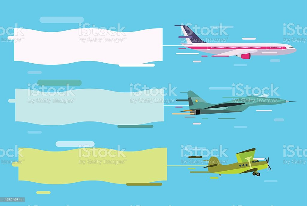 Plane flying with advertising banners vector art illustration
