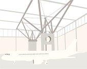 Plane Hangar Vector Silhouette