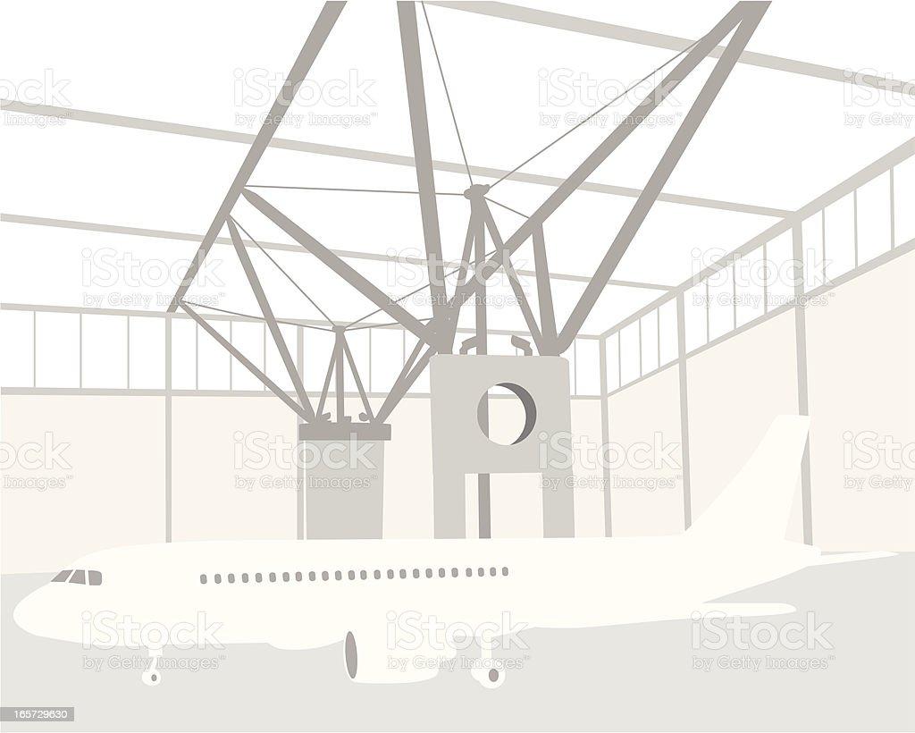 Plane Hangar Vector Silhouette vector art illustration