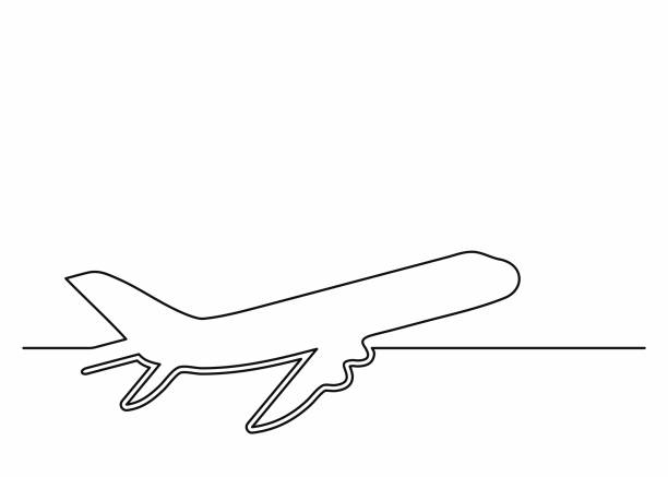 plane icon in line art style airliner icon continuous line drawing single